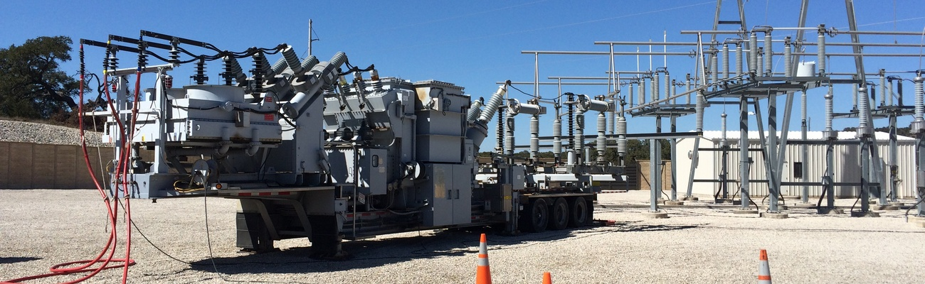 A mobile substation parked at a substation.