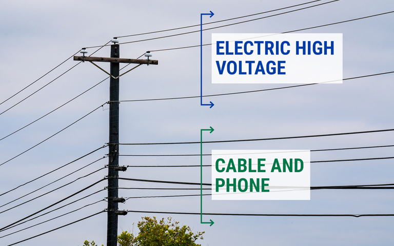 Picture displaying electric and cable/phone lines